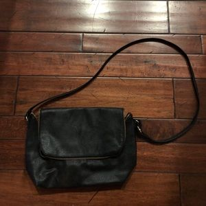 H&M black Leather over the shoulder zip bag