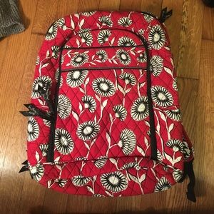 Vera Bradley red, whte, blk backpack,laptop sleeve