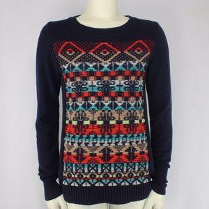 j. Crew Jacquard Stitch Sweater Navy Blue Wool