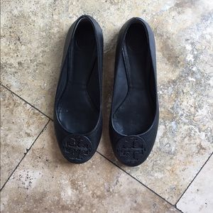 Tory Burch Black Leather Flats, 8.5