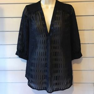 Ann Taylor gorgeous sheer navy blue top S