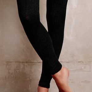 ANTHROPOLOGIE Marled knit tights/dk green