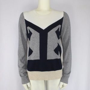 J.Crew Antarsia Colorblock Sweater Gray Navy Blue