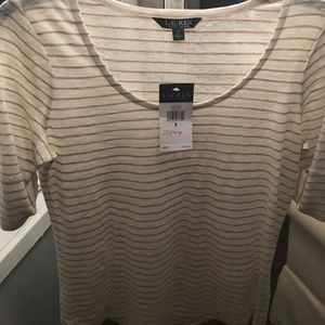 Ralph Lauren cream/white & tan pin stripped top