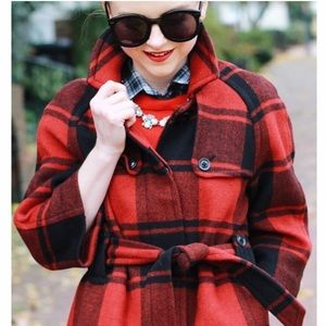 Gap red plaid coat (belted)