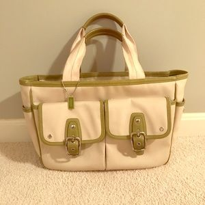 Canvas and leather Coach tote.