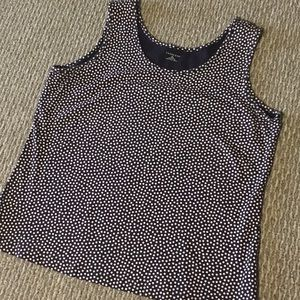 Lands' End Navy Blue and White Polkadot Tank