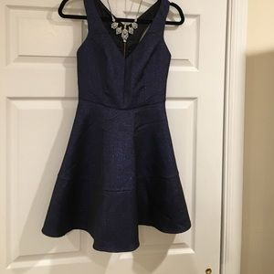 Blue fit and flare express dress