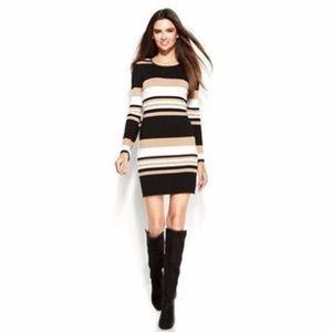 NWT INC Faux Leathe Trim striped sweater dress