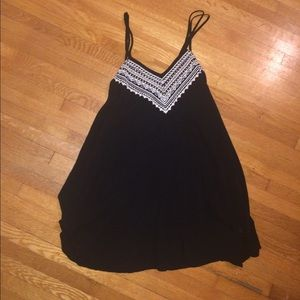 american eagle black embroidered dress
