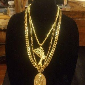 MENS 14 K GOLD FILLED 3 CHAIN EGYPTIAN GODS SET