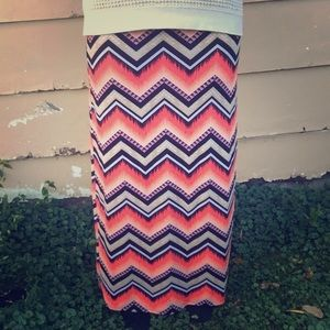 Patterned, Multicolored Maxi Skirt