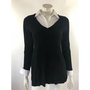 WHBM Tunic Sweater Small Layered Look Collared
