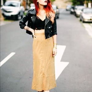 Boho chic genuine leather skirt