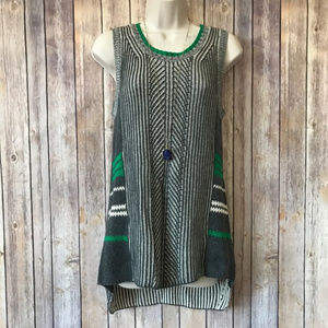 M CAbi green and gray ribbed sweater tank