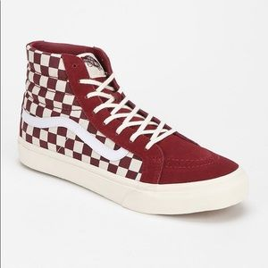 Maroon high top checkered Vans size 8