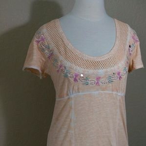 Free People Orange crochet embroidered mirror top