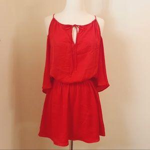H&M Vibrant Red Cold Shoulder Dress