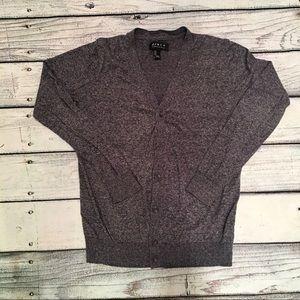 21 Men dark Heather gray button cardigan size S