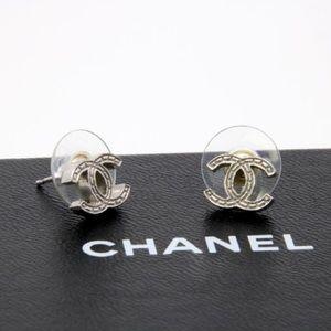 Chanel Siganture CC Monogram Silver Earrings
