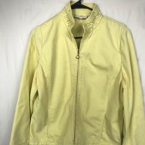St John Sport Coat Medium Jacket Cotton Yellow
