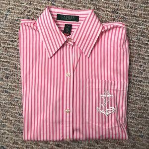 Women's Ralph Lauren Pink Striped Button Down