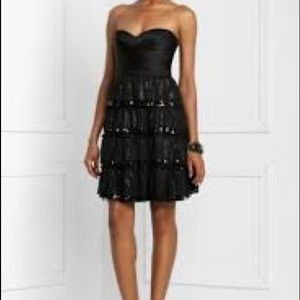 Bcbg MaxAzria silk tiered sequined black dress 6