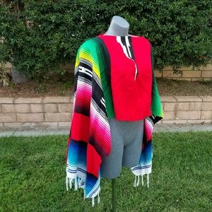 Sweaters - Poncho With Fringe One Size