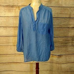 Blue semi sheer tunic L NWT grand& green