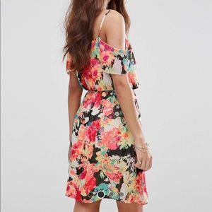 Boohoo floral cold shoulder mini dress