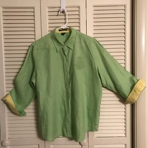 Linen Blouse with yellow lined collar and cuffs.