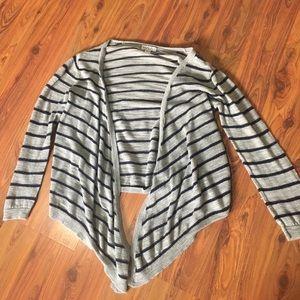 Blue and grey striped girls cardigan