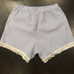 Other - Seersucker and lace pajama shorts. Size small.