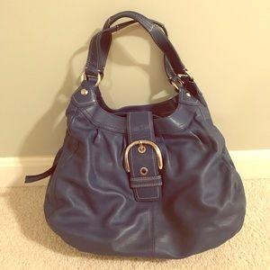 Blue leather Coach hobo bag.