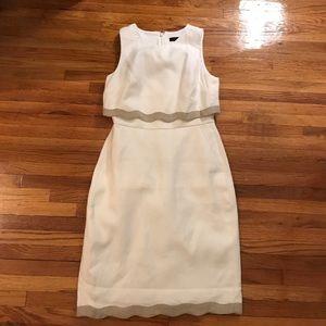 White and tan sleeveless dress