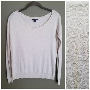 AEO Sheer Full-Lace Back, Scoop Neck Long Sleeve