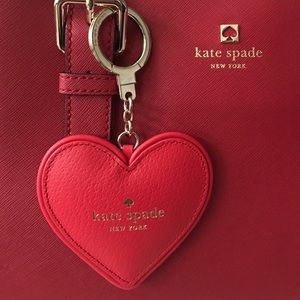 Kate Spade Leather Heart Keychain