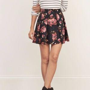 Abercrombie & Fitch Pleated Neoprene Skater Skirt