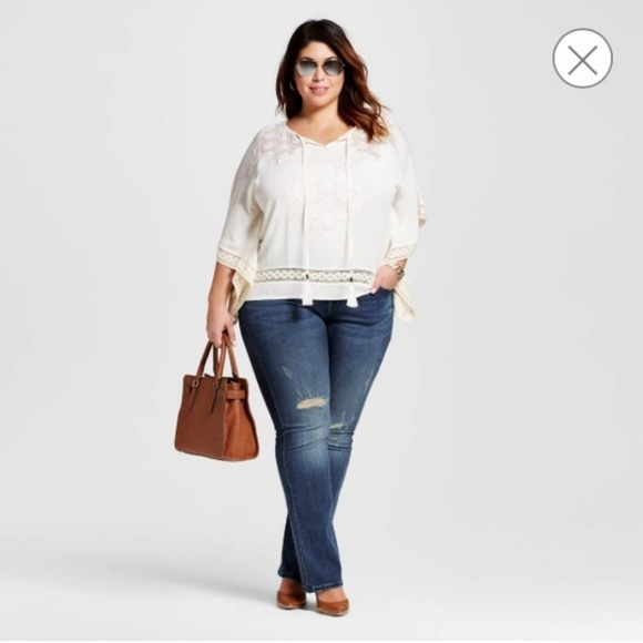 e01e2588302 24W Plus Size Distressed Stretch Bootcut Jeans