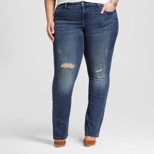 ae461b945da Ava   Viv Jeans - 24W Plus Size Distressed Stretch Bootcut Jeans