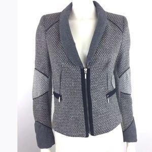 Zara Chic Gray Tweed Blazer Jacket Zip Up