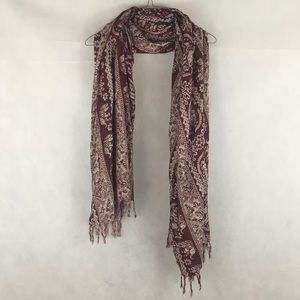 Maroon Elephant Scarf or Sarong Wrap