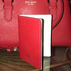 Kate Spade Leather Pillbox Red Passport Card Case