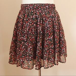 Forever 21 Chiffon Floral Skirt