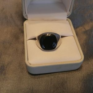 Black Steel Onyx ring sz 9 or 10
