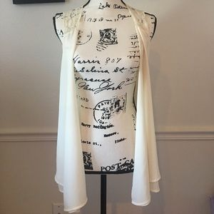 Creme Sheer Open Sleeveless Cardigan Size M