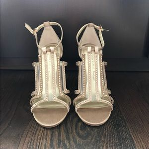 Adrianna Pappell gold crystal embellished shoes