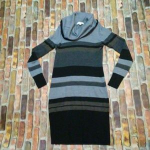 Ann Taylor loft cowl neck striped dress