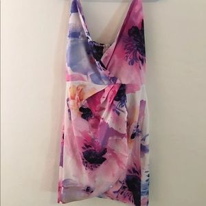 Oasap Pink Floral Cocktail Sleeveless Dress Sz M