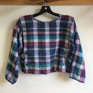 Vintage plaid cropped long sleeved shirt